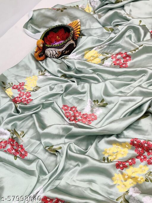 Aarvy Creation Bollywood Style Women's Pure soft japan silk saree with beautiful floral print nd hand work khatli with ciramic butti in all over saree