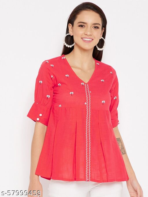 WineRed Women Peach Floral Embroidered Puff Sleeves Top