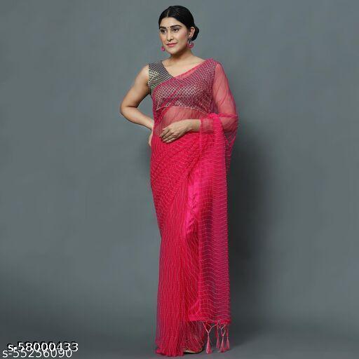 Stylish Fancy Womens Net Saree