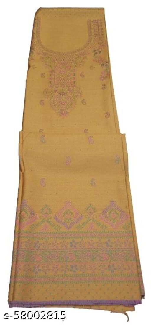 Maurya's Printed Woolen Suits For Women Unstitched Winter Suits For Women With Shawl- Mustard, Printed Neck Kurti, Printed Bordered Bottom And Printed Shawl