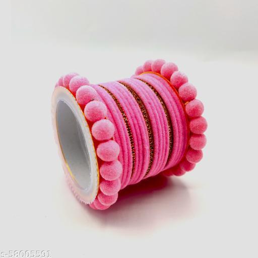 Antique Round Ball Pink Colour Velvet Bangles Set With Metal Bangles