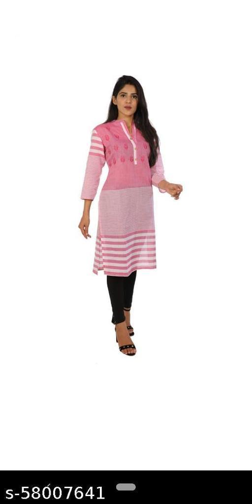 Women's Cotton Pink Embroidered Kurta for Casualwear, Officewear, Dailywear, Kurti