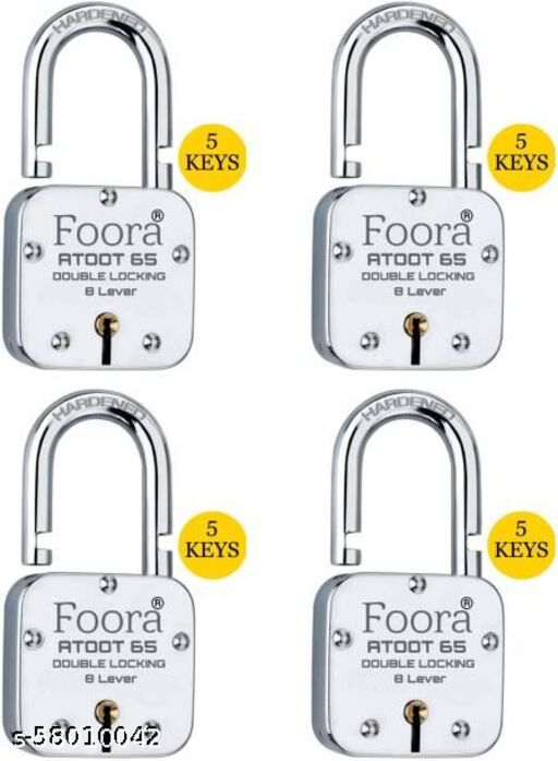 Foora Atoot 65mm Hardened Shackle Padlock with 5 keys Pack of 4