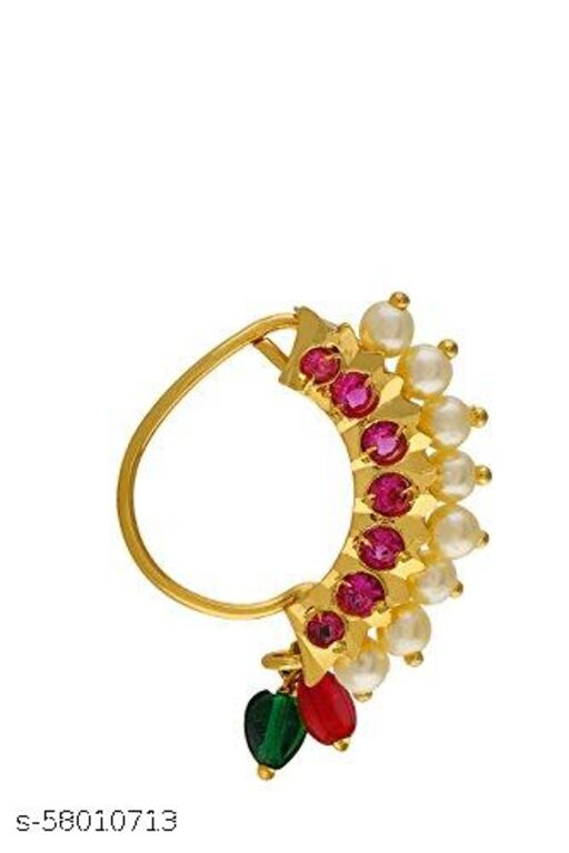 MEENAZ Maharashtrian south indian Traditional Pearl Moti red green stone cz ad Temple Jewellery marathi Nathni Banu Nathiya combo set Nose pin Nath Nose Ring for Wedding bridal nosepins studs new models Women Girls ladies design Gold Press pin Non pierced piercing jewelry