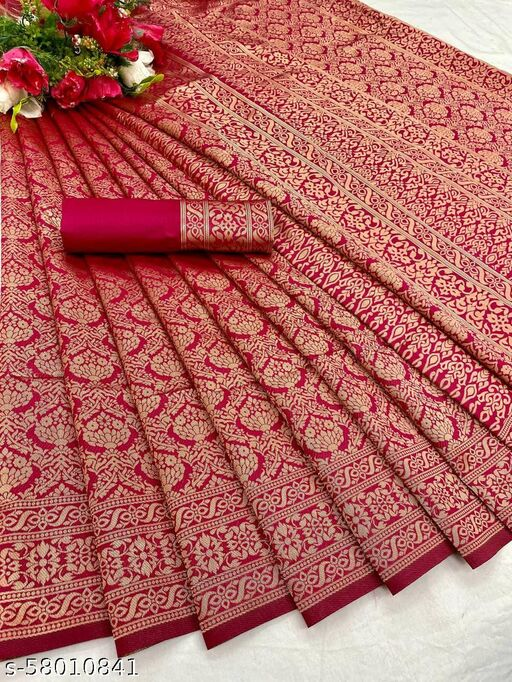 Amazing Litchi Silk Saree With Blouse Piece For Women