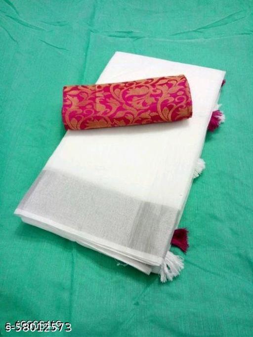 Saree with Zari Border in Chanderi Cotton Material