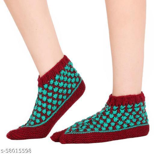 Bharatasya boot style handknitted woolen home thermal socks