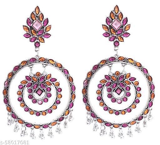 Paninaro Trending Silver Oxidised Dangle Drop Blue Mirror Earrings for women and girls