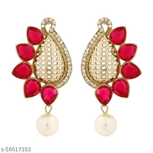 ZIVOM Designer Paisley Antique Rhodium Plated Pink Earring For Women