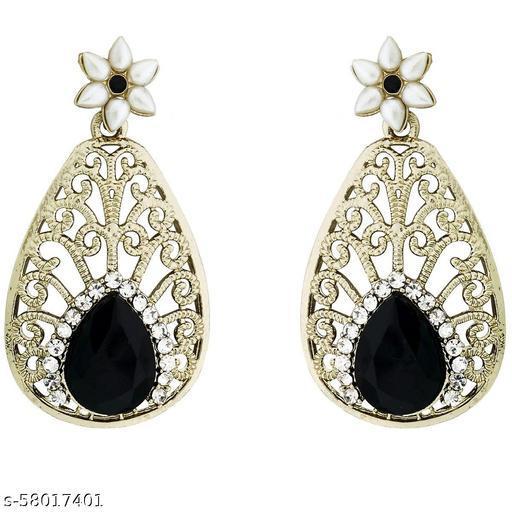 ZIVOM Pear Flower Filigree Antique Rhodium Pearl Black Earring For Women