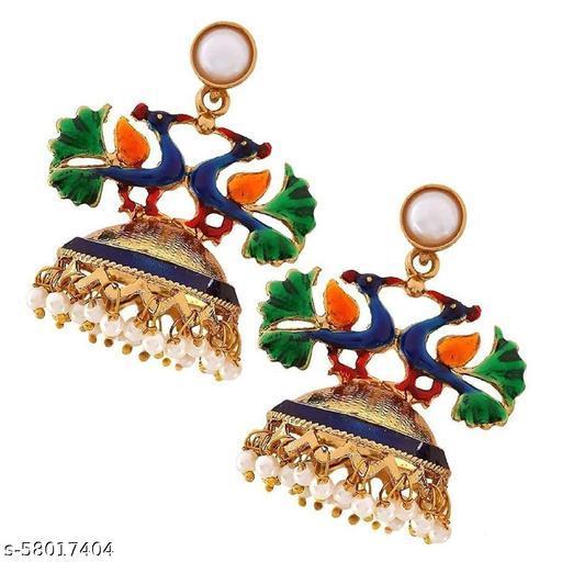 ZIVOM Peacock Crown Gold Plated Meenakari Jhumki Earring For Women