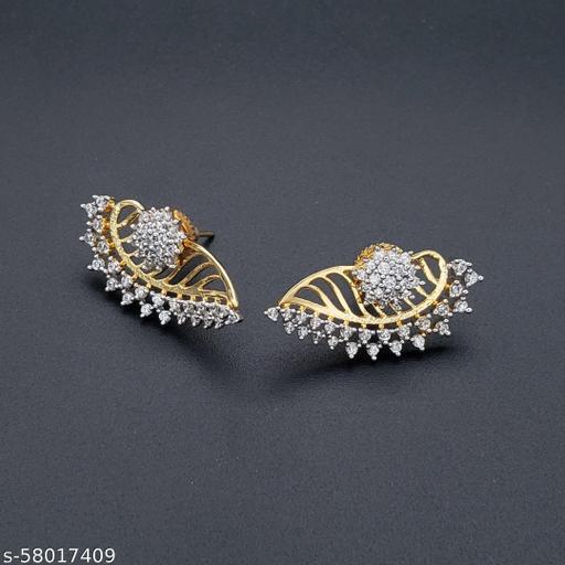 ZIVOM Flower 18K Gold Plated Ear Cuff Jacket Pair Stud Earring For Women