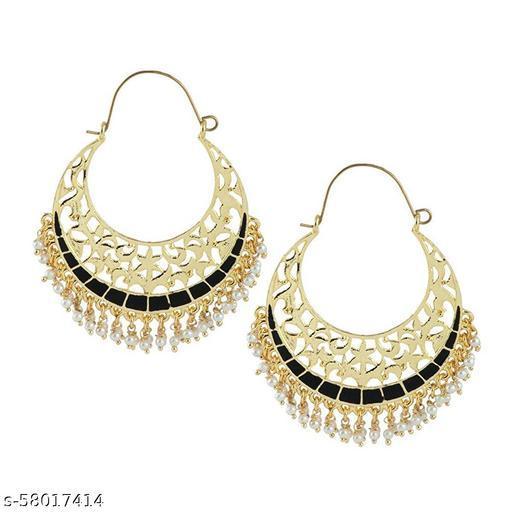 ZIVOM Filigree Chaand Bali Antique Gold Black Meena Hoop Earring For Women