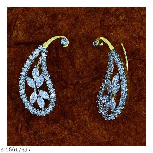 ZIVOM Daily Wear Flower 18K Gold Ruby Red American Diamond Stud Earring