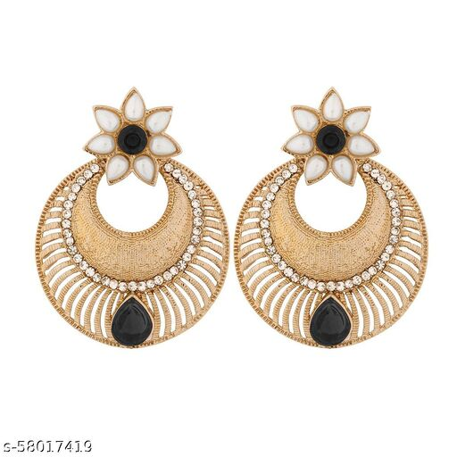 ZIVOM Chaand Bali Filigree Antique Rhodium Plated Black Earring For Women