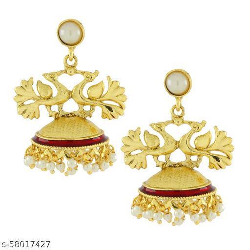ZIVOM Peacock Crown Gold Plated Maroon Meenakari Jhumki Earring For Women