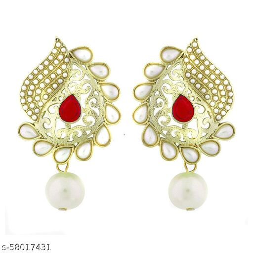 ZIVOM Paisley Filigree Antique Rhodium Pearl Red Earring For Women