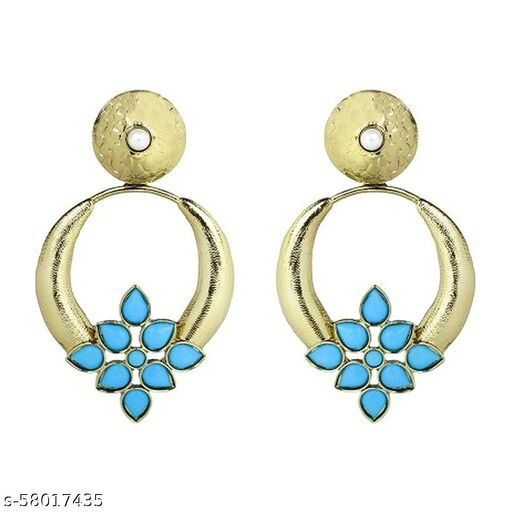 ZIVOM Turkish Flower Antique Gold Plated Turqoise Earring For Women