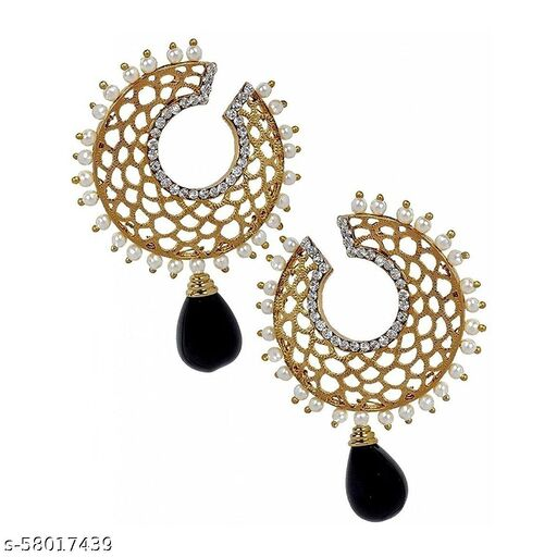 ZIVOM Filigree Chaand Gold Plated Black Drop Earring For Women