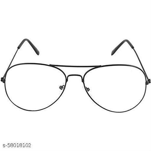 Black Frame UV Protected Aviator Sunglasses for Men & Women (Clear/Transparent lens)