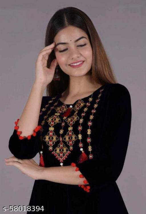 SARTE FASHION Rayon Embroidery Pompom Lace Anarkali Gown Kurti