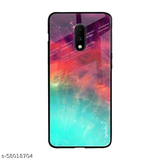 Qrioh Printed Tempered GLass Back Case Cover Compatible with OnePlus 7 - Colorful Aura Real Glass Case