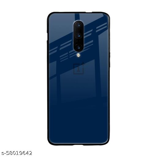 Qrioh Printed Tempered GLass Back Case Cover Compatible with OnePlus 7 Pro - Royal Navy Real Glass Case
