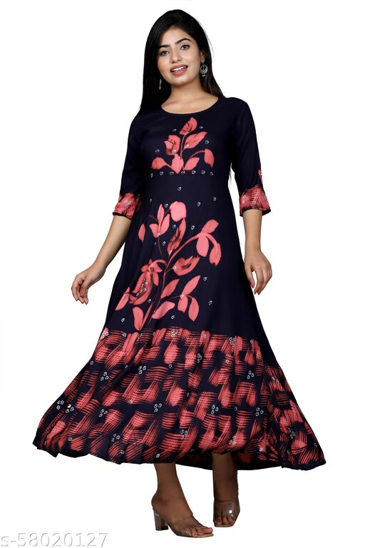 Women's Fit And Flare Knee Length Gown