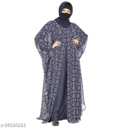 Two Pieces Set Of Inner Abaya And Printed Georgette Cape