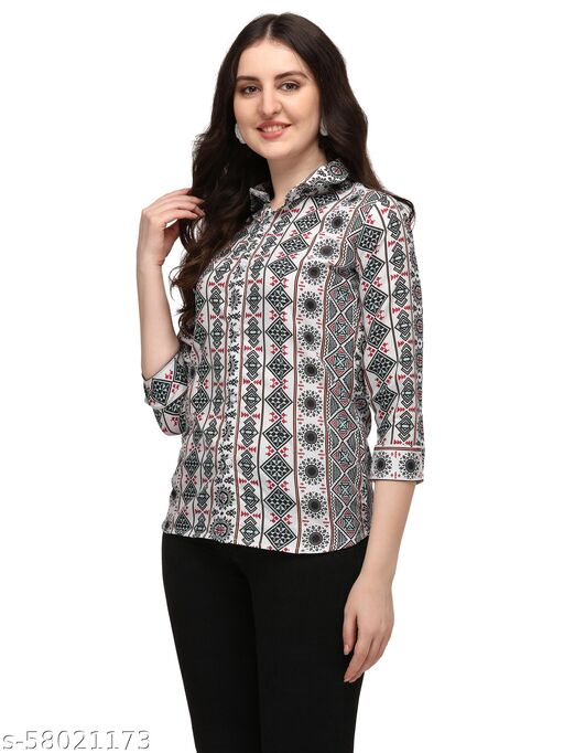 bijmantra Formal Regular Sleeves Printed Women Top