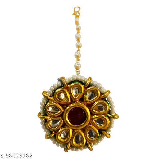 SARITA JEWELLERS Traditional Gold Plated Elegant Kundan Studded Designer Bridal Borla Maang Tikka for Girls and Women