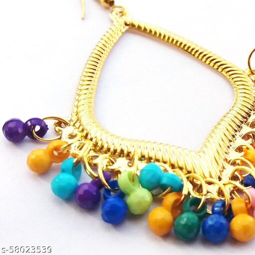 earings.in New Trending drop shape Earrings golden color with multi colour hanging balls