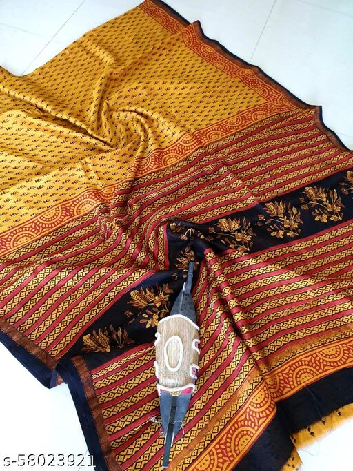 New Traditional Osm Quality Chanderi Silk  Stylish ( 6 Metter ) Saree With ( 80 Cm Unstiched ) Blouse For Women's And Girls