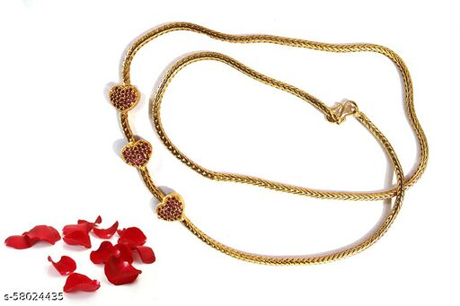 S L GOLD 1 Gram Gold Micro Plated harte design Mugappu Chain RED for Girls and Women