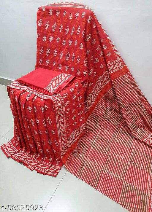 Print Women's Bagru Jaipuri Handloom Pure Cotton Mulmul Traditional Cotton Sarees With Printed Blouse Piece