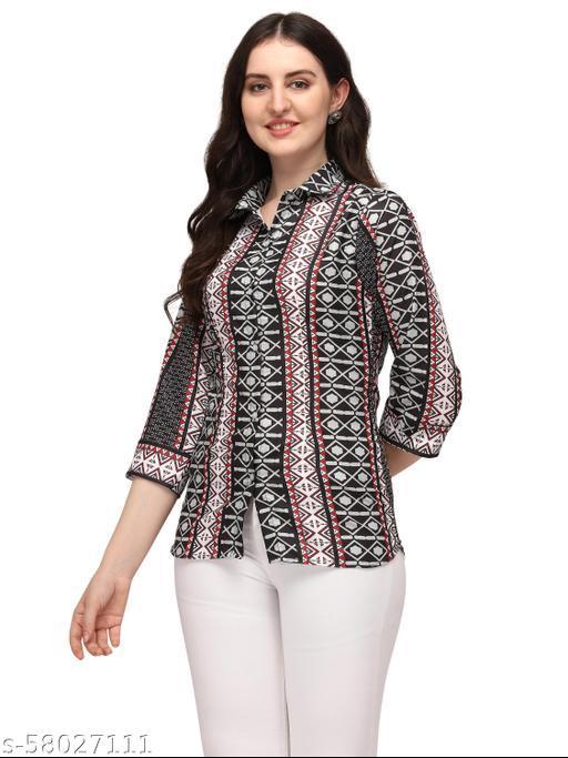bijmantra Formal Regular Sleeves Printed Women Shirts