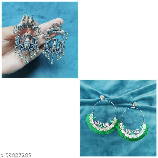 Combo Of 2 Earrings (Ganesha and Green peacock)