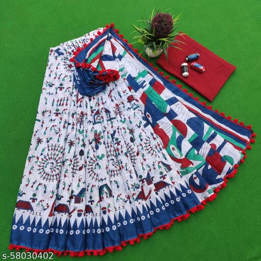 Pure Mulmul Cotton bagru print Saree in with exclusive pompom less border
