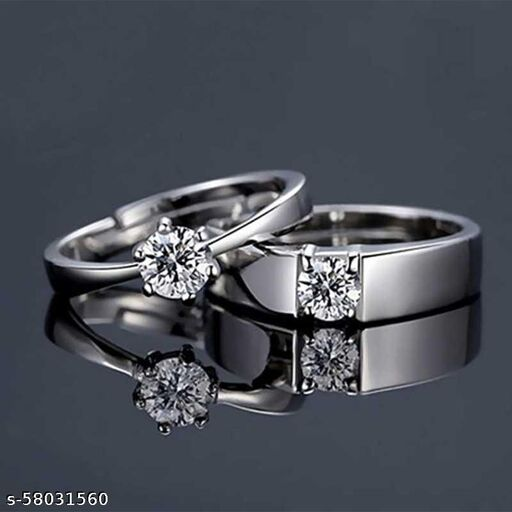 Adjustable Silver Plated Metal Solitaire Couple Ring for Men and Women Love Gift for Valentine Alloy Silver Plated Ring
