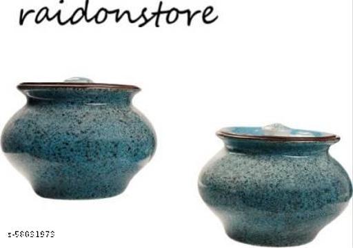 raidonstore Handcrafted Blue Coastal Ceramic Serving Pot | Dahi Handi | Biryani Handi with Lid for Dining Table/Home/Kitchen Tagine  (Blue)