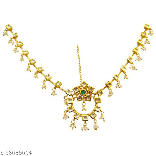 SARITA JEWELLERS Traditional Gold Plated Elegant Kundan Studded Rajputi Designer Bridal Borla Maang Tikka Rakhdi for Girls and Women