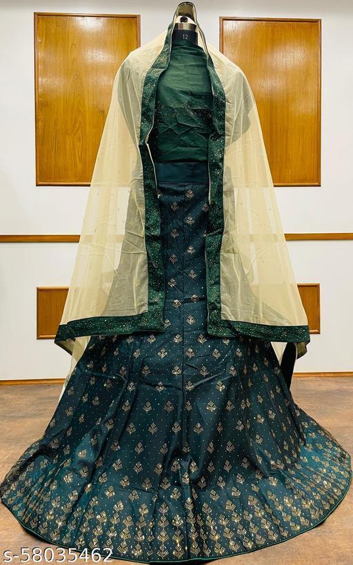 Women's Velvet Semi-Stitched Lehngha Choli - Velvet 97- Green