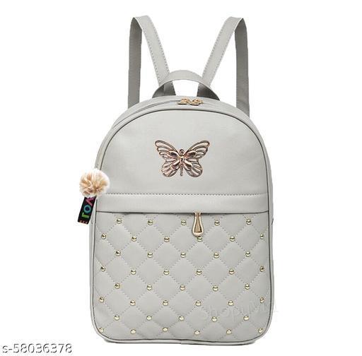 CRESCA PU Leather Teddy Keychain Women Backpack Handbag