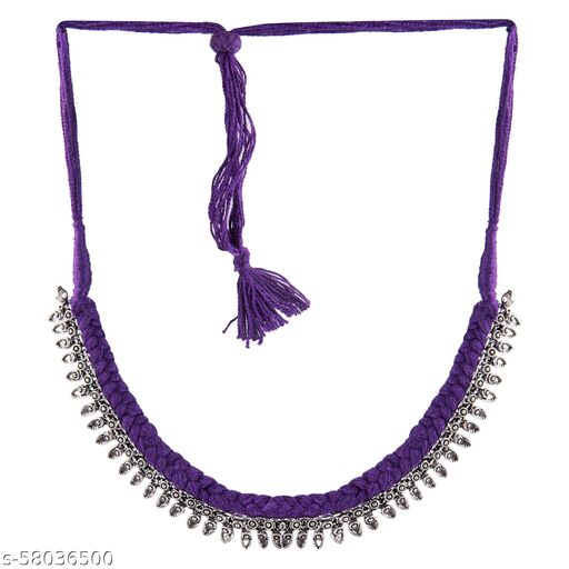 Muccasacra Latest Traditional and stylish with Sterling Silver, PURPLE Silk Dori, Fabric Necklace