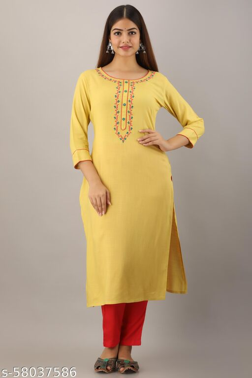 yell-oh! Blue Embroidered Straight Kurti
