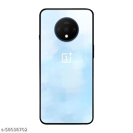 Qrioh Printed Tempered GLass Back Case Cover Compatible with OnePlus 7T - Bright Sky Real Glass Case