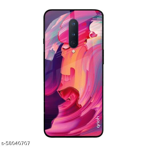 Qrioh Printed Tempered GLass Back Case Cover Compatible with OnePlus 8 - Magnificent Pastel Real GLass Case