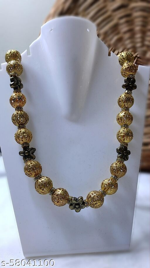 Hasthmade - Metalic and antique golden flower beads necklace