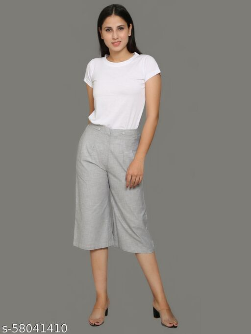 Calf-length Wide Straight cut Trousers