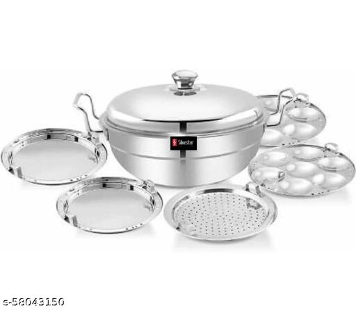 SILVESTER® All in One Stainless Steel Multi Uses Kadai | Steamer | Idli Maker | Momo's Steamer | Curry Maker | with Stainless Steel Lid, 2 idli Plates,2 dhokla Plates and 1 patra Plat- Pack Of 1